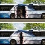 Креативная реклама от National Geographiic. Автобус в виде акулы….